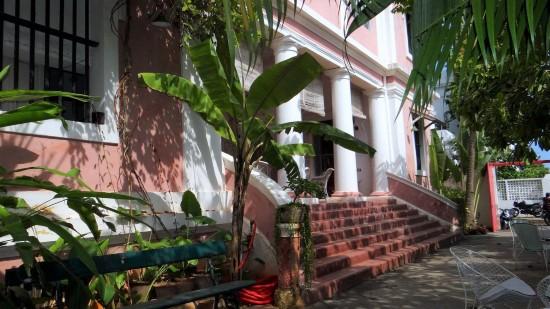Pondichéry maison coloniale rose et blanche
