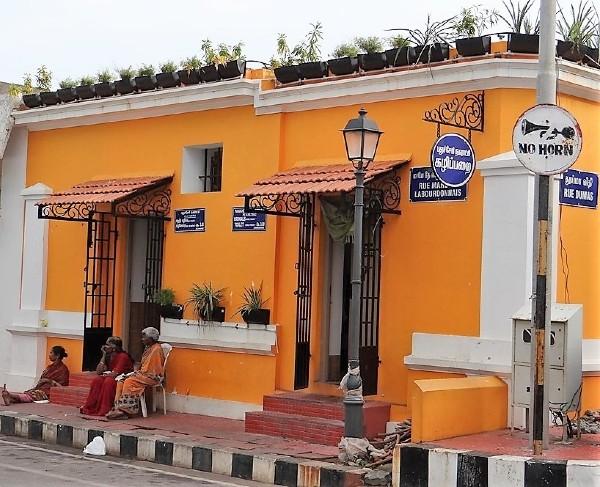 Pondichéry maison peinte en orange