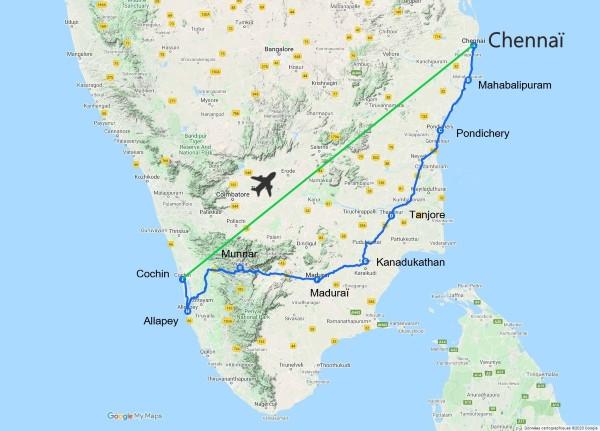 Carte routière d'Inde du sud
