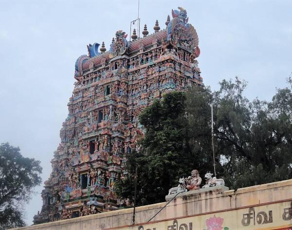 Inde du sud tour habillée de millier de statuettes colorées
