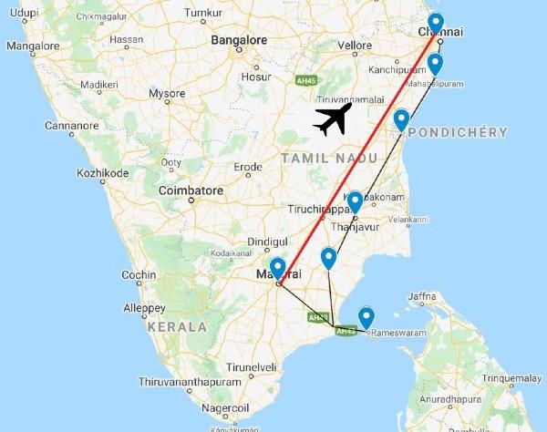 Carte routière du Tamil Nadu