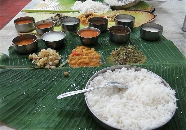 Riz et petits bols de nourriture indienne sur une feuille verte
