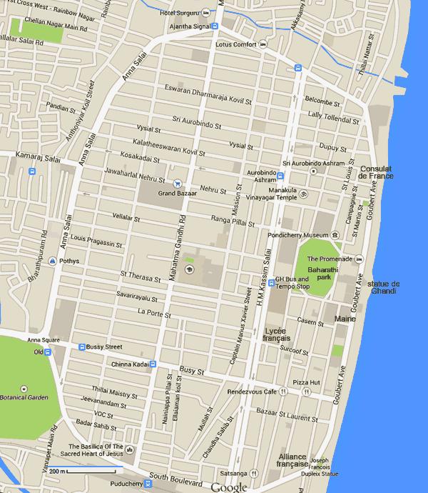 Plan des rues de Pondichéry