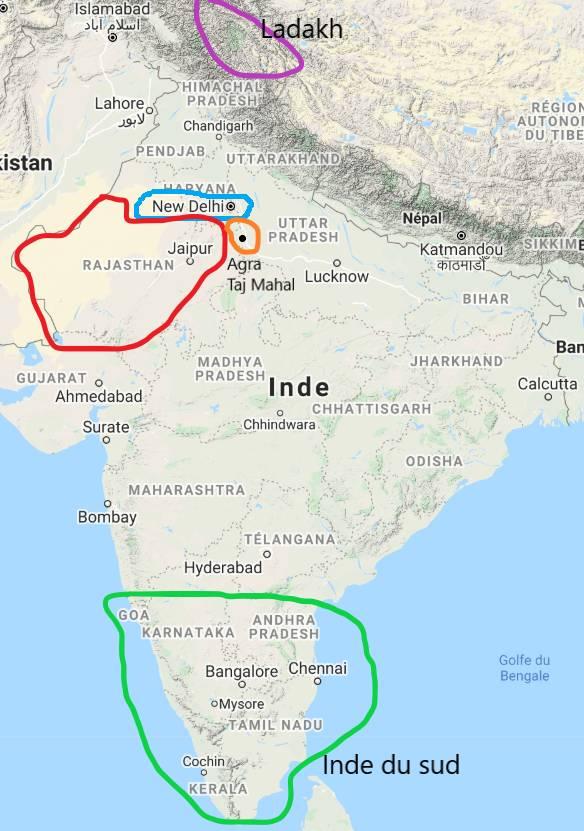 Carte d'Inde indiquant des régions