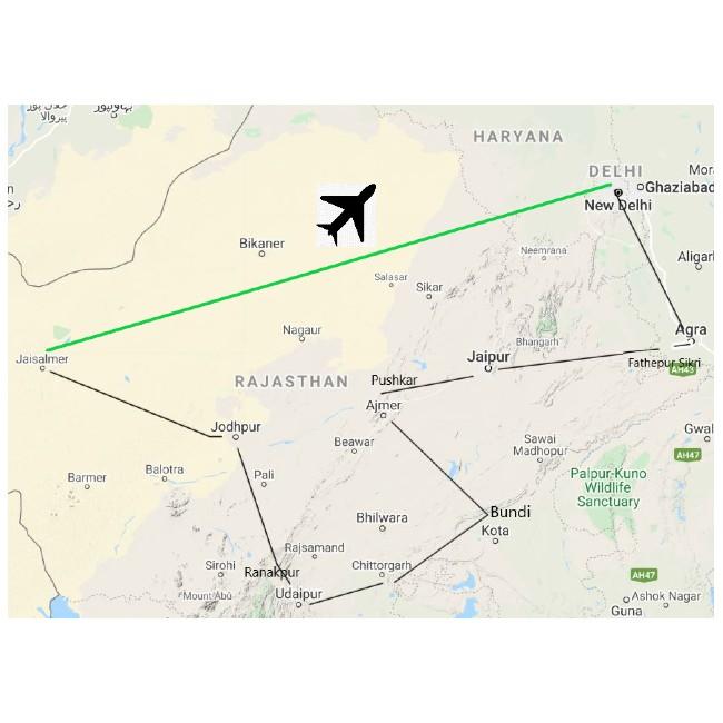 Carte itinéraire circuit Rajasthan-Agra