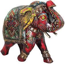 Inde éléphant en bois peint