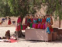 Inde Rajasthan femme qui vend des marionnettes sous un arbre