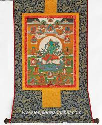 Inde Tangka tissu avec une peinture miniature au milieu