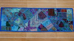 Inde tissu brodé en patchwork bleu