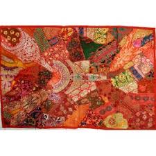Inde tenture tissu patchwork orange