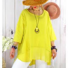 Tunique jaune pour femme avec pendentif