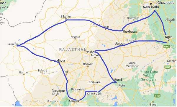Carte routière du Rajasthan